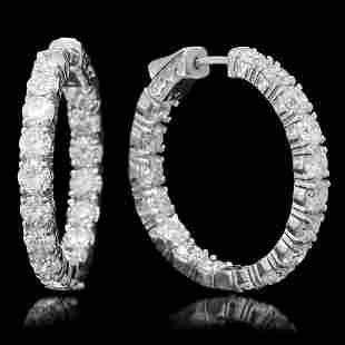 14K Gold 6.98ct Diamond Earrings