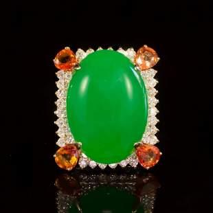 14K Gold 25.75ct Jadeite, 2.50ct Orange Sapphire 1.85ct