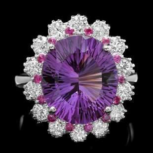 14k Gold 6.50ct Amethyst 1.30ct Diamond Ring