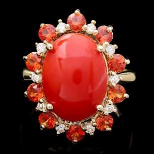 14k Yellow Gold 5.00ct Coral 0.35ct Diamond Ring