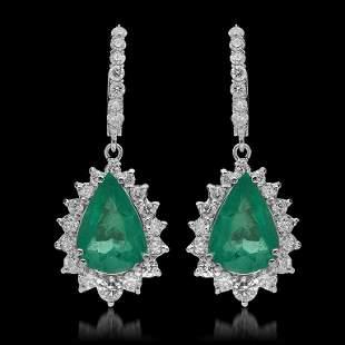 14K Gold 7.24ct Emerald & 2.51ct Diamond Earrings