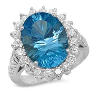 14K Gold 7.92ct Topaz 1.50ct Diamond Ring