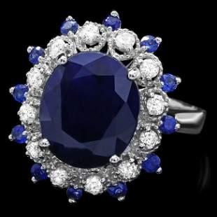 14k White Gold 5.4ct Sapphire 0.35ct Diamond Ring
