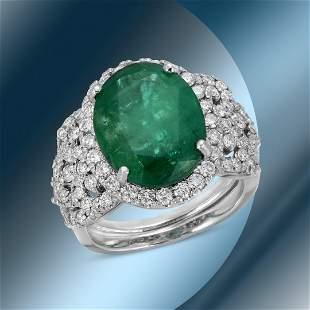 14K Gold 5.91cts Emerald & 1.74cts Diamond Ring