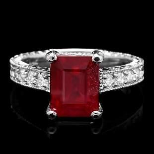 14k White Gold 4.17ct Ruby 0.35ct Diamond Ring