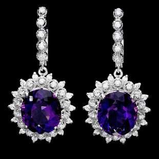 14k Gold 14ct Amethyst 1.55ct Diamond Earrings