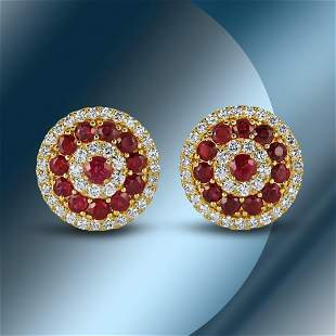 14K Gold 3.75cts Ruby & 1.88cts Diamond Earrings