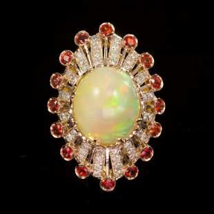 14K Gold 13.28ct Opal, 1.28ct Orange Sapphire 1.10ct