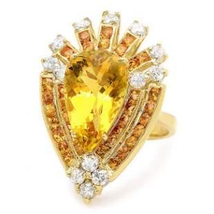 14k Yellow Gold 5.00ct Beryl 0.80ct Diamond Ring