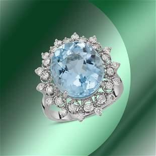 14K Gold 9.51cts Blue Topaz & 0.88cts Diamond Ring