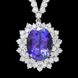 18k Gold 10ct Tanzanite 7.6ct Diamond Necklace