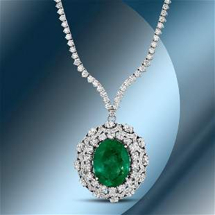 14K Gold 17.85cts Emerald & 11.72cts Diamond Necklace