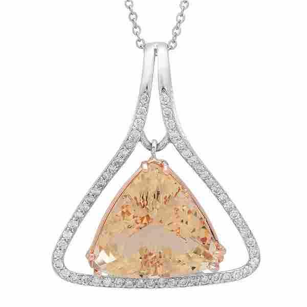 14K Gold 23.86ct Morganite1.10ct Diamond Pendant