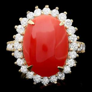 14k Yellow Gold 5.00ct Coral 1.35ct Diamond Ring
