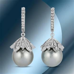 4K Gold 14mm Tahitian Pearl & 2.35cts Diamond Earrings