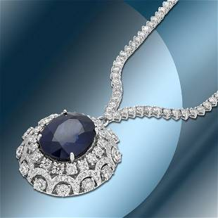 14K Gold 17.90cts Sapphire & 11.78cts Diamond Necklace