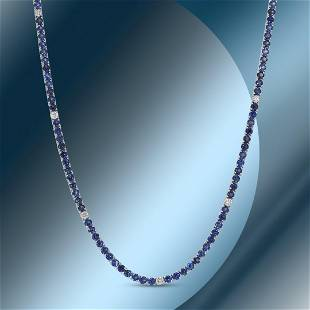 14K Gold 12.50cts Sapphire & 0.71cts Diamond Necklace
