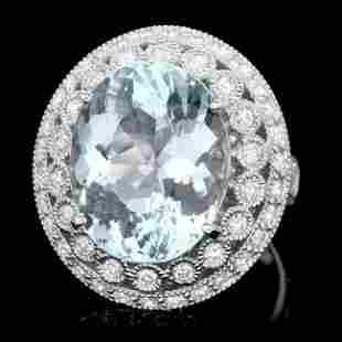 14k Gold 10ct Aquamarine 1.50ct Diamond Ring
