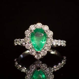 14K Gold 1.67ct Emerald 1.50ct Diamond Ring