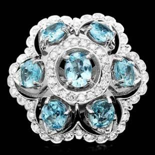14k Gold 8.00ct Aquamarine 1.35ct Diamond Ring
