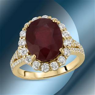 14K Gold 7.80cts Ruby & 1.22cts Diamond Ring