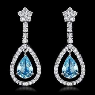 14k White Gold 4.50ct Aquamarine 2.75ct Diamond