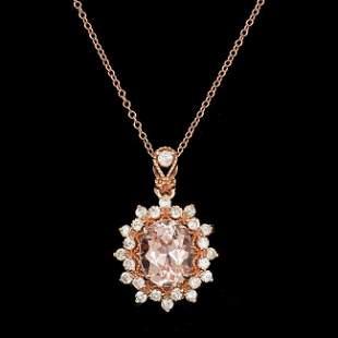14k Rose 3.00ct Morganite 0.70ct Diamond Pendant