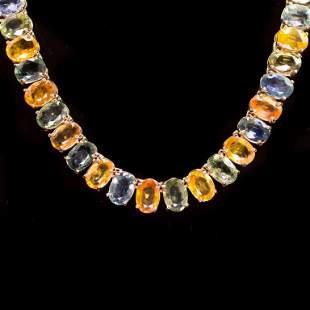 14K Gold 77.38ct Multi-Color Sapphire Necklace
