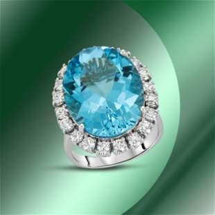 14K Gold 20.11cts Blue Topaz & 1.41cts Diamond Ring