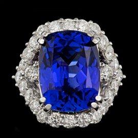 18k Gold 16.00ct Tanzanite 2.60ct Diamond Ring