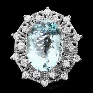 14k Gold 11.00ct Aquamarine 1.60ct Diamond Ring