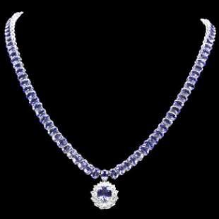 14k W Gold 45ct Tanzanite 1.35ct Diamond Necklace