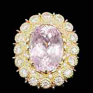 14k Gold 19.50ct Kunzite 2.75ct Diamond Ring