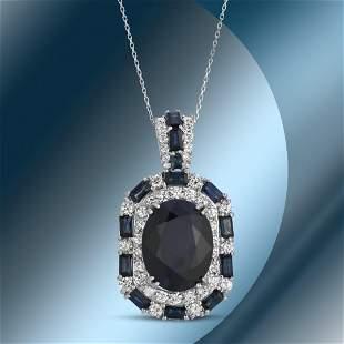 14K Gold 14.44cts Sapphire & 2.86cts Diamond Pendant