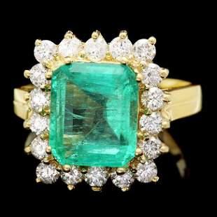 18k Gold 4.00ct Emerald 1.00ct Diamond Ring