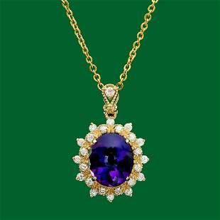 14k Gold 5.130ct Amethyst 0.72ct Diamond Pendant