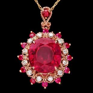 14k Rose Gold 7.15ct Ruby 0.25ct Diamond Pendant