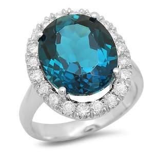 14K Gold 9.30ct Blue Topaz 0.80cts Diamond Ring