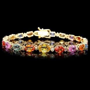 14k Gold 18ct Sapphire .65ct Diamond Bracelet