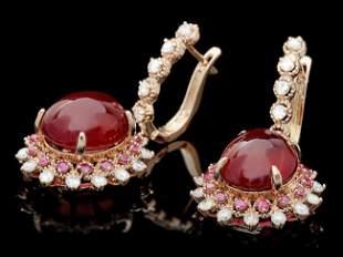 14k Rose Gold 23.8ct Ruby 1.50ct Diamond Earrings