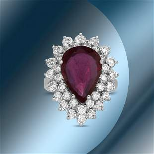 14K Gold 5.11cts Ruby & 2.62cts Diamond Ring