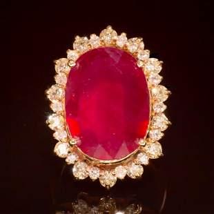 14K Gold 14.81ct Ruby 2.10ct Diamond Ring