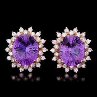 14k Rose 10ct Amethyst 1.70ct Diamond Earrings