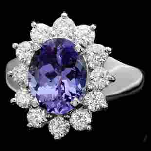 14k White Gold 2.50ct Tanzanite 1ct Diamond Ring