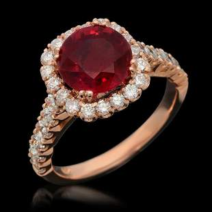14K Gold 3.28ct Ruby 1.26ct Diamond Ring
