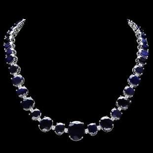 14k Gold 165ct Sapphire 1.8ct Diamond Necklace