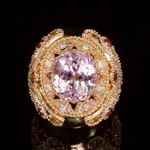 14K Gold 14.78ct Kunzite, 1.40ct Orange Sapphire 1.52ct