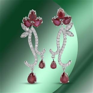 14K Gold 16.11cts Ruby & 2.02cts Diamond Earrings