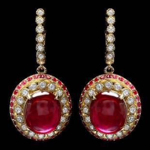 14k Gold 22.3ct Ruby 1.20ct Diamond Earrings