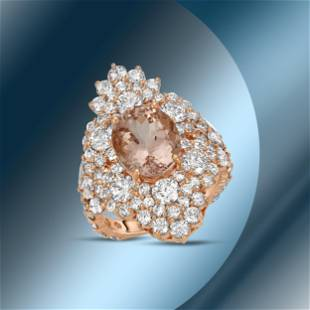 14K Gold 3.88cts Morganite, 0.85cts Sapphire & 4.51cts